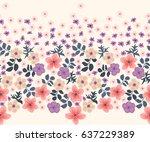 seamless folk border in small... | Shutterstock .eps vector #637229389