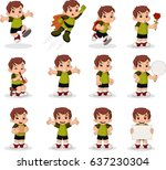 cute happy cartoon boy. kid... | Shutterstock .eps vector #637230304