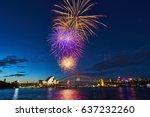 sydney harbour firework.... | Shutterstock . vector #637232260