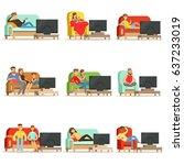 happy people watching... | Shutterstock .eps vector #637233019