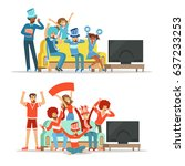 group of friends watching... | Shutterstock .eps vector #637233253