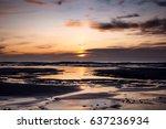 sunset over the atlantic ocean... | Shutterstock . vector #637236934