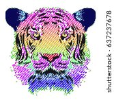 tiger dot graphics. applicable... | Shutterstock .eps vector #637237678