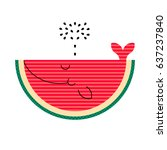cute smile watermelon whale... | Shutterstock .eps vector #637237840