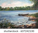 Boat And The River  Oil Painting