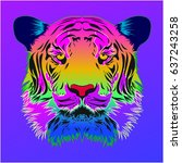 tiger. applicable for covers ... | Shutterstock .eps vector #637243258
