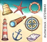 nautical illustrations set.... | Shutterstock .eps vector #637248643