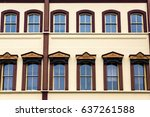 blue glass in ornate windows on ...   Shutterstock . vector #637261588