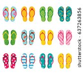 set  collection of summer flip... | Shutterstock .eps vector #637263856