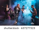 handsome singer with rock and...   Shutterstock . vector #637277323