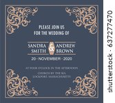 wedding invitation card with... | Shutterstock .eps vector #637277470