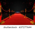 long red carpet between rope... | Shutterstock . vector #637277644