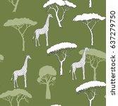seamless pattern with giraffe... | Shutterstock .eps vector #637279750