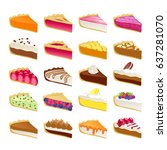 colorful sweet cakes or pies... | Shutterstock .eps vector #637281070