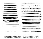 set of grunge brush strokes.... | Shutterstock .eps vector #637281244