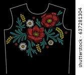embroidery neck line pattern... | Shutterstock .eps vector #637281304