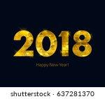 golden glow 2018 new year... | Shutterstock .eps vector #637281370