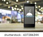 restaurant cloche flat icon on... | Shutterstock . vector #637286344