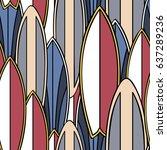summer surf board retro symbols ... | Shutterstock .eps vector #637289236