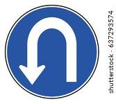 u turn roadsign  | Shutterstock .eps vector #637293574