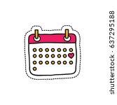 calendar february doodle icon ... | Shutterstock .eps vector #637295188