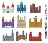 vector set of old flat medieval ...   Shutterstock .eps vector #637296079