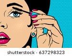 pop art makeup. closeup of sexy ... | Shutterstock .eps vector #637298323