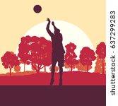basketball man player relaxing... | Shutterstock .eps vector #637299283