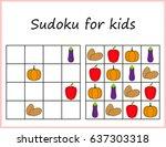 sudoku for kids. game for... | Shutterstock .eps vector #637303318