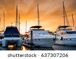 yacht and boats docking at the... | Shutterstock . vector #637307206