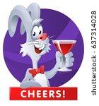 funny rabbit raising a red wine ...   Shutterstock .eps vector #637314028