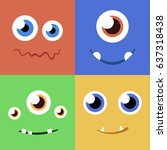 set of cartoon monster faces... | Shutterstock .eps vector #637318438