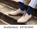 men elegant shoes with blue... | Shutterstock . vector #637321840
