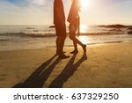 silhouette couple on the beach... | Shutterstock . vector #637329250