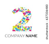 number two logo with blue ... | Shutterstock .eps vector #637336480