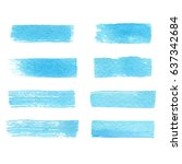 hand drawn set of watercolor... | Shutterstock .eps vector #637342684