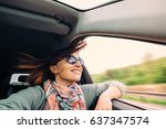 woman with flying hair looks... | Shutterstock . vector #637347574