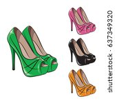 set of women's shoes in various ... | Shutterstock .eps vector #637349320