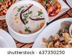 chicken coconut soup  tum kha... | Shutterstock . vector #637350250