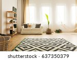 modern  warm home interior with ... | Shutterstock . vector #637350379