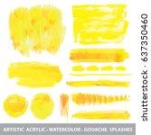 summer watercolor gouache... | Shutterstock .eps vector #637350460