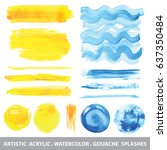 summer watercolor gouache... | Shutterstock .eps vector #637350484