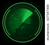 military radar green display... | Shutterstock .eps vector #637357300