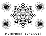 beautiful vector black mandala... | Shutterstock .eps vector #637357864