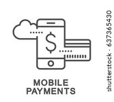 icon of mobile payments and... | Shutterstock .eps vector #637365430