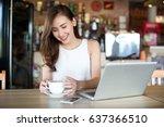 happy asia woman using smart... | Shutterstock . vector #637366510