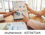 business team meeting present.... | Shutterstock . vector #637367164