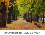 a greenery pathway with benches ... | Shutterstock . vector #637367434