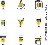 vector illustration of 9 drinks ... | Shutterstock .eps vector #637367668