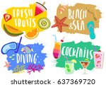 vector set of hand drawn... | Shutterstock .eps vector #637369720